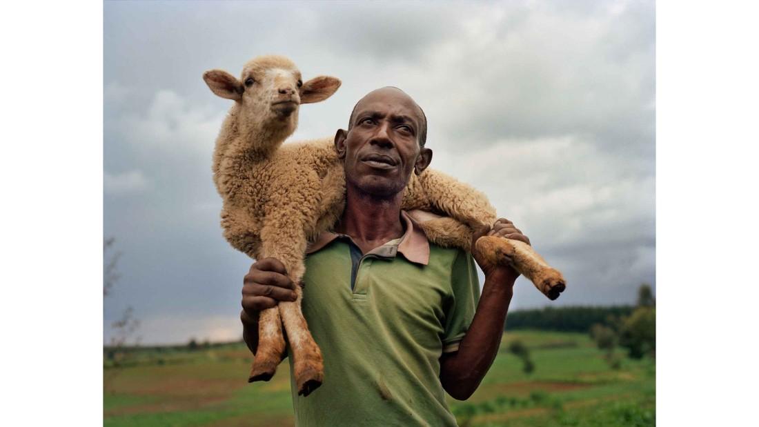 Farmer Michael Mwangi, 48, in the village of Haraka, Nakuru County, Kenya