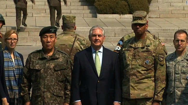 US Secretary of State Rex Tillerson at the DMZ, accompanied by General Vincent Brooks, United States Forces Korea commander & General Leem Ho-young, deputy commander of the Combined Forces Command. March 17, 2017