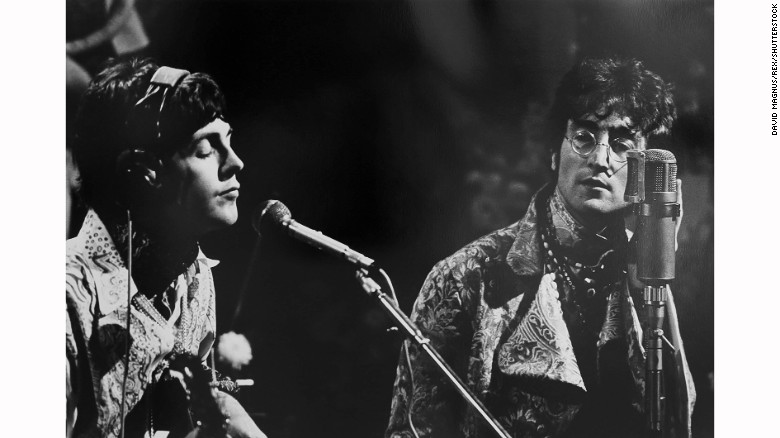 Paul McCartney and John Lennon at rehearsal.