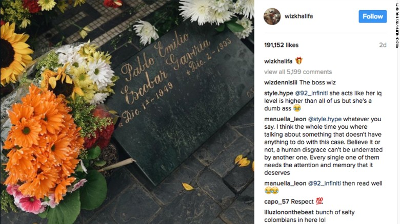 Wiz Khalifa posted a picture of flowers on Pablo Escobar's grave