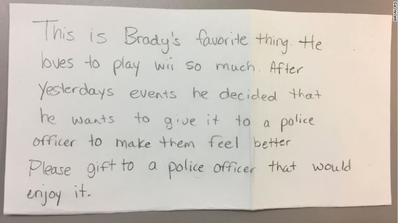 The Wausau Police Department in Wisconsin posted this letter, which accompanied Brady's gift.