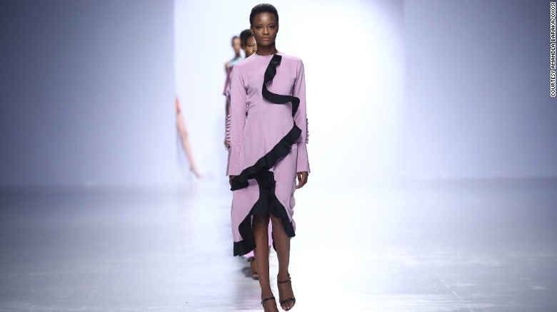 Nigerian-born designer Bridget Awosika's showcases a collection at Lagos Fashion and Design Week in 2016.