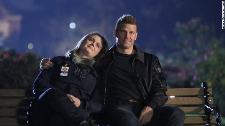 "Emily Deschanel and David Boreanaz in ""The Final Chapter:  The End in the End"" series finale episode of ""Bones."""