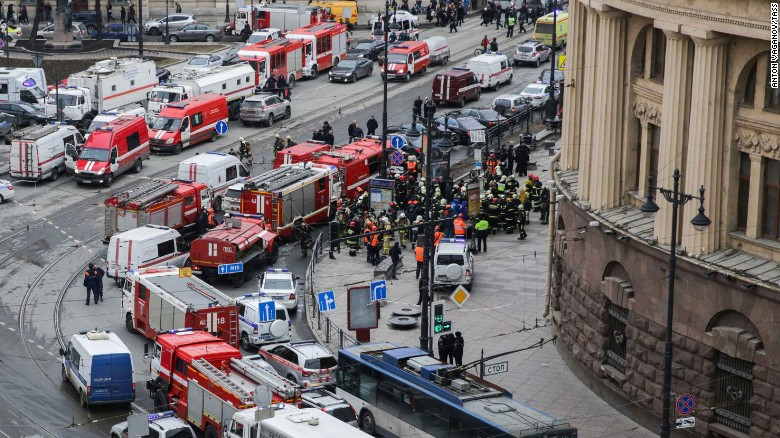 Emergency services arrive near the Tekhnologichesky Institut station Monday.