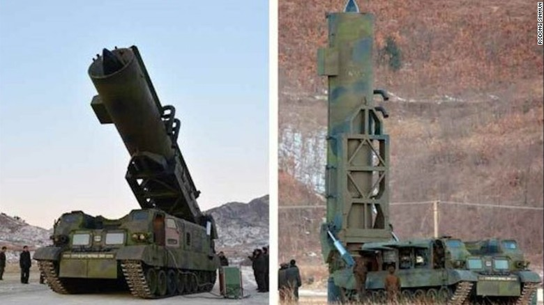 The missile launching system used to fire the Pukguksong-2 is shown in February in an image released by North Korean state media. A truck like this would make it easier to hide and quickly fire missiles, experts say.