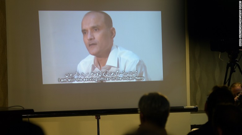 Indian national Kulbushan Jadhav is shown in a video during a press briefing in Islamabad in March 2016. Jadhav was sentenced to death this week by a Pakistani military court.