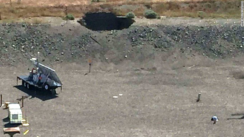 A tunnel at Washington's Hanford nuclear site collapsed on May 9, creating a 20-foot hole.