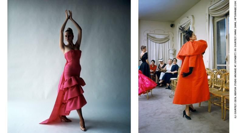 L: Model wearing a flamenco-style evening dress by Cristóbal Balenciaga, Paris. R: Model wearing an orange Balenciaga coat