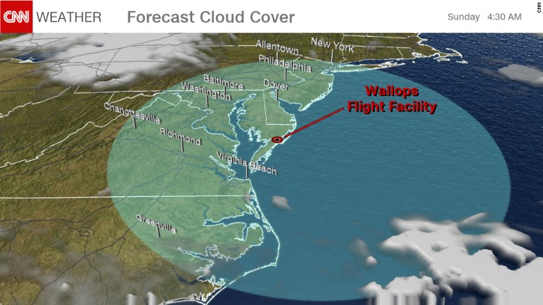 Clear skies are predicted for Sunday around 4:30 a.m. ET, in the shaded region, where colored clouds may be visible following NASA's sounding rocket launch.