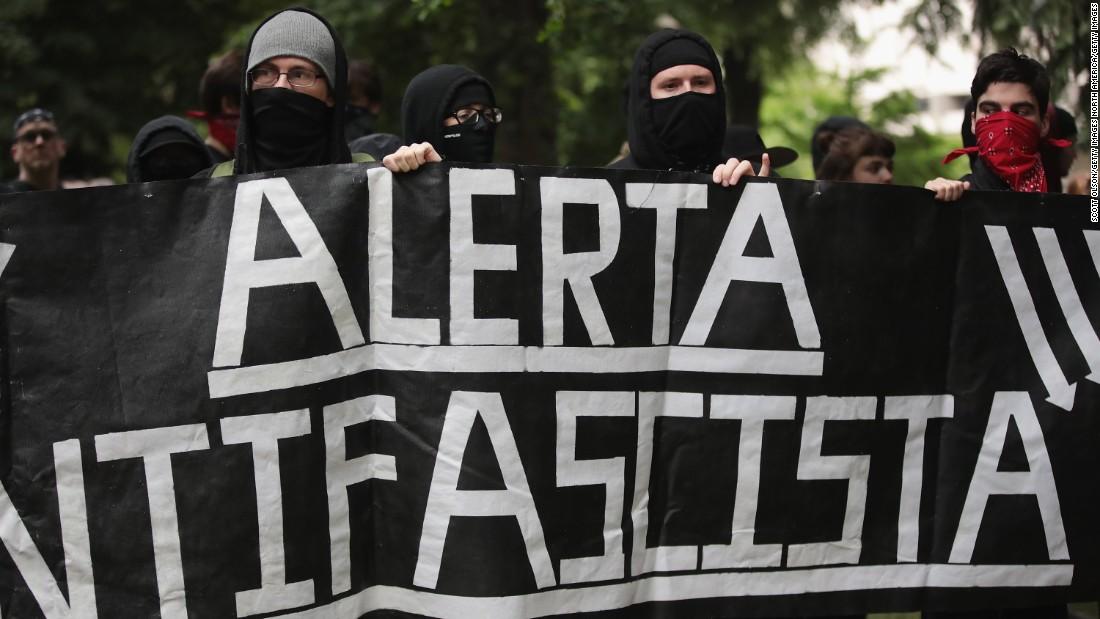 Anti-fascist demonstrators confront pro-Trump demonstrators during a protest on June 4, 2017, in Portland, Oregon.