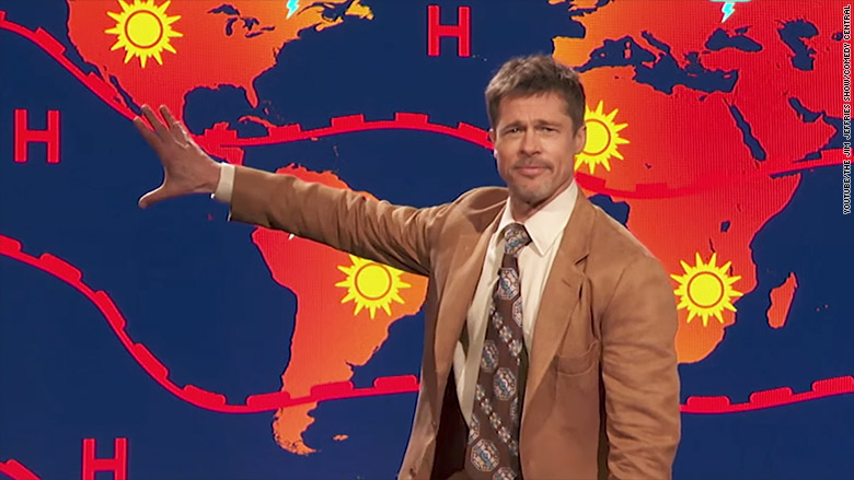 Image result for Brad Pitt delivers grim weather report on 'Jim Jefferies Show'