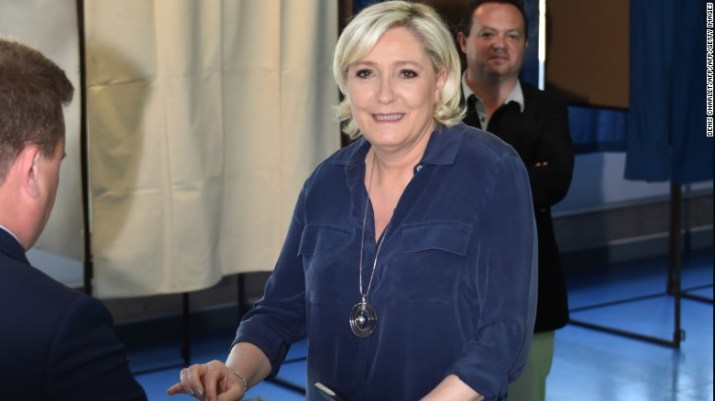 France's far-right candidate Marine Le Pen cast her ballot in Henin-Beaumont in nothern France.