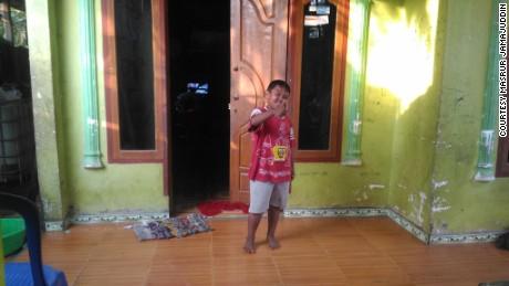Aldi Rizal at his home in Indonesia.