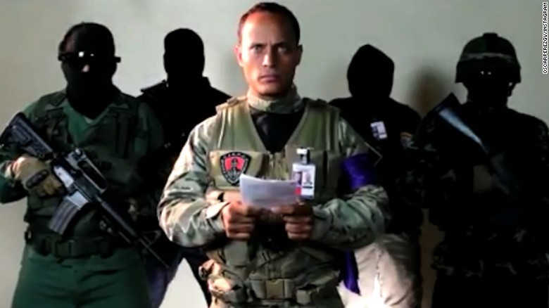 The pilot of the helicopter, Oscar Perez, in a video message posted online.