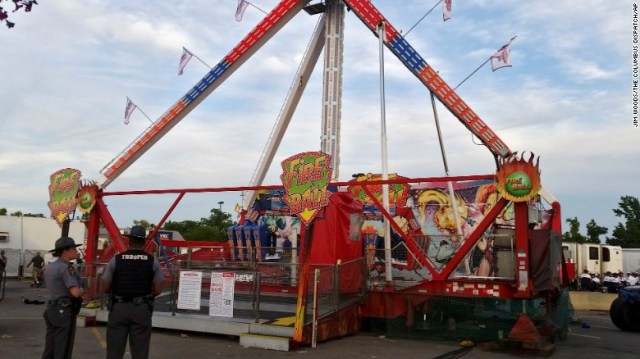 The Fire Ball amusement ride after it malfunctioned Wednesday at the Ohio State Fair.