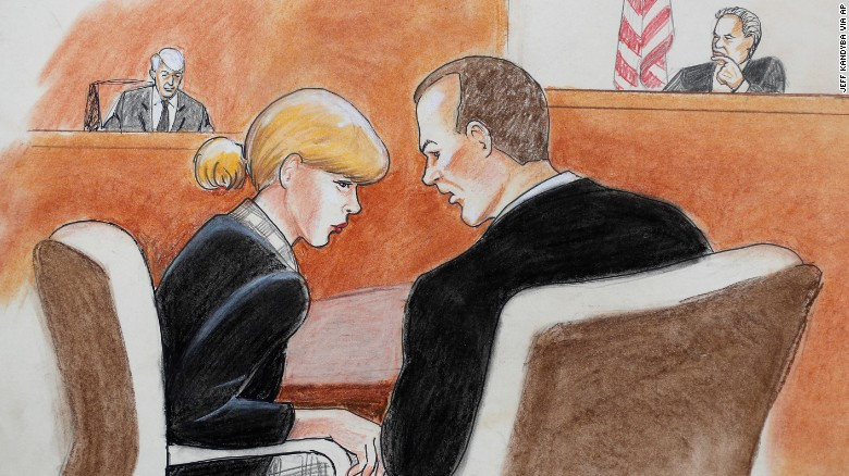 Taylor Swift confers with her attorney as David Mueller, back left, testified on Tuesday.