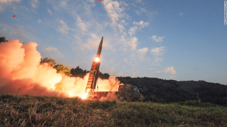 In this photo provided by South Korea Defense Ministry, South Korea's Hyunmoo II ballistic missile is fired during an exercise at an undisclosed location on Monday.