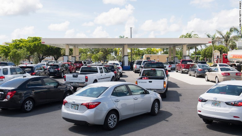 Drivers wait in line in for gas as they prepare for Hurricane Irma in Miami, Florida, September 7.