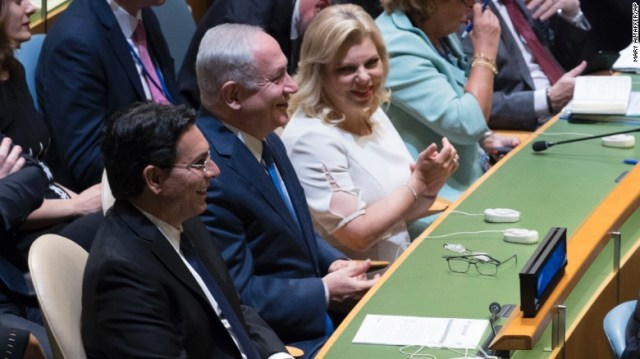 Israeli Prime Minister Benjamin Netanyahu, center, and his wife Sara Netanyahu, right, and Ambassador to the United Nations Danny Danon.