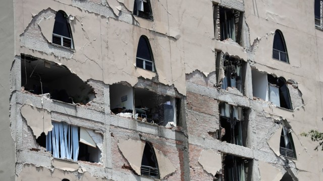 A building is damaged in Mexico City on September 19. The earthquake happened 32 years after a magnitude-8.0 earthquake hit on September 19, 1985, killing an estimated 9,500 people in and around Mexico City.