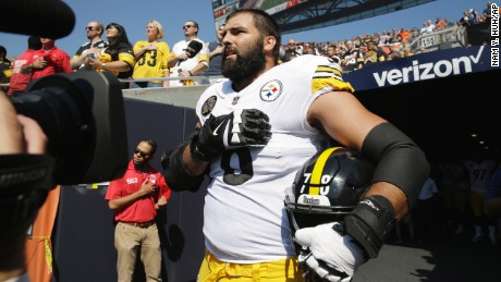 Image result for steelers player not kneeling