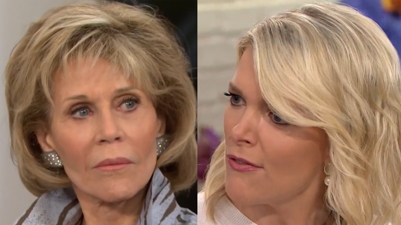 Image result for Jane Fonda really didn't want to talk about plastic surgery with Megyn Kelly