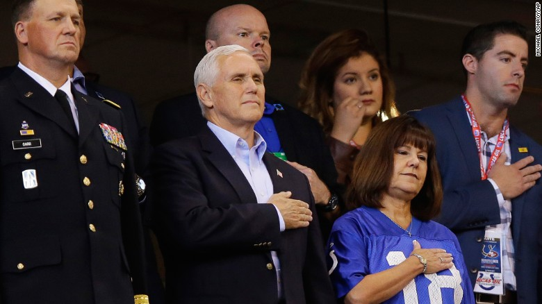 Image result for Pence leaves Colts game after protest during anthem