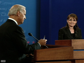 Sen. Joe Biden and Gov. Sarah Palin start their debate with a discussion of the economy.