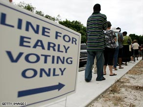 Long lines of early voters have been reported in several states across the country.