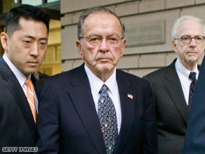 Sen. Ted Stevens leaves the federal courthouse in Washington after being convicted Monday.