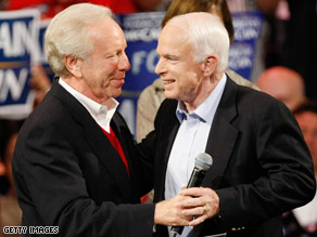 Sen. Joe Lieberman's decision to campaign for Sen. John McCain angered Democrats.