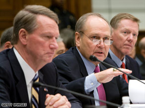 The chief executives of ailing automakers GM, Chrysler and Ford testify before Congress on Friday.