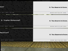 The ads feature key words about Islam on one side and the words 'You deserve to know' on the other.