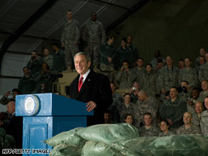 U.S. President George W. Bush speaks to U.S. troops at Bagram Air Base in Afghanistan on Monday.