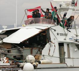 Gaza relief boat 'rammed' by Israeli vessel