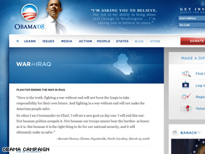 Obama's campaign has revamped language on the Iraq portion of its Web site.