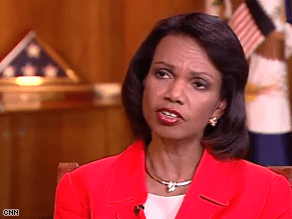 Condoleezza Rice met with members of President-elect Barack Obama's transition team Monday.