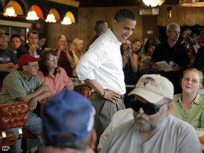 Sen. Barack Obama chats with diners at Bell Restaurant in Lebanon,Missouri.
