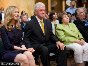 Former President Clinton, seated next to his daughter and his mother-in-law, at times appeared emotional as he watched Sen. Clinton deliver her concession speech in June.