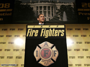 Obama spoke to the International Association of Firefighters in March.