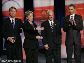 DNC Howard Dean, pictured here with Sens. Clinton and Obama and former Sen. Edwards, said Friday that people of color and women have historically been more successful in the Democratic Party.