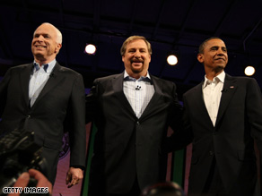 John McCain, Rick Warren and Barack Obama take the stage together at the forum on faith.