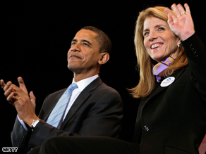 Caroline Kennedy, head of the Obama VP search team, waves to supporters of Democratic presidential hopeful Sen. Barack Obama.