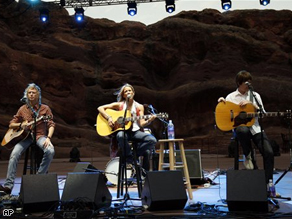 Musician Sheryl Crow, center, performs at the Green Sunday At Red Rocks Democratic National Convention welcoming concert in Morrison, Colorado.