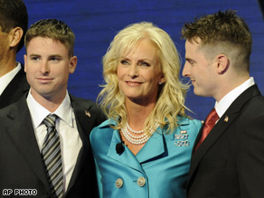 Cindy McCain's sons joined her on stage Thursday night.