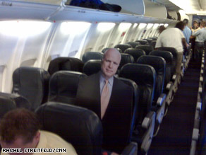 Reporters traveling wtih Sen. Biden brought this cut-out of Sen. McCain onto the Biden campaign plane Saturday morning.