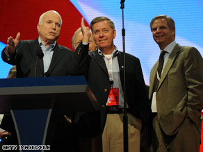 Sen. Graham, center, has been one of Sen. McCain's most ardent supporters and outspoken surrogates throughout the election season.