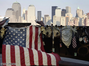 2006 Memorial in Jersey City, NJ for victims of the September 11 attacks, looking out at the NYC skyline.