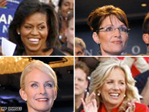 The women of the 2008 presidential campaign: Michelle Obama, Gov. Sarah Palin, Jill Biden, and Cindy McCain.