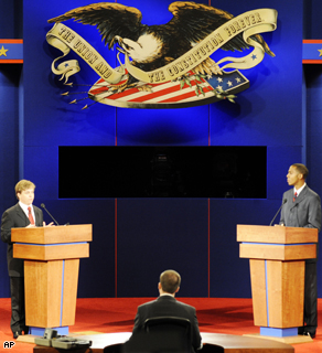 Mississippi students act as stand-ins as the Commission on Presidential Debates prepares, Thursday, for the presidential debate scheduled for Friday at the Ford Center in Oxford, Mississippi.